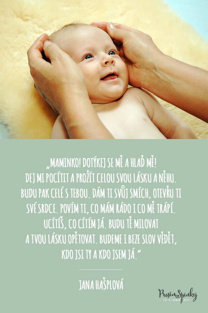baby masáže - citát Jany Hašplové